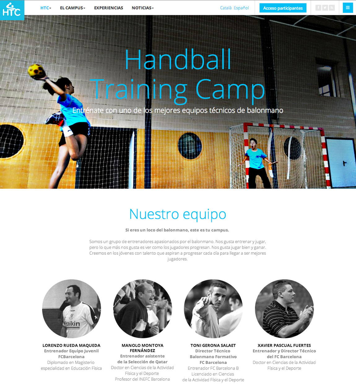 HANDBALL TRAINING CAMP. Una web de Dinàmic Enginy